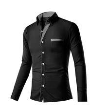 New Mens Dress Shirts Patchwork Men's Long Sleeve Shirt Slim Fit 11Colors Shirt High Grade Design Camisa M-4XL chemise homme(China (Mainland))