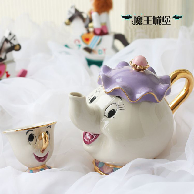 Cartoon Beauty And The Beast Teapot Mug Mrs Potts Chip Tea Pot Cup 2PCS One Set Xmas Gift(China (Mainland))