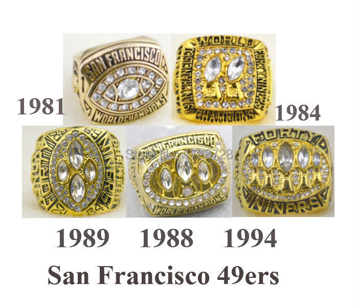 Free Shipping A set 1981 1984 1988 19891994 San Francisco 49ers Super Bowl Championship Champions Ring 5PCS solid for fans(China (Mainland))