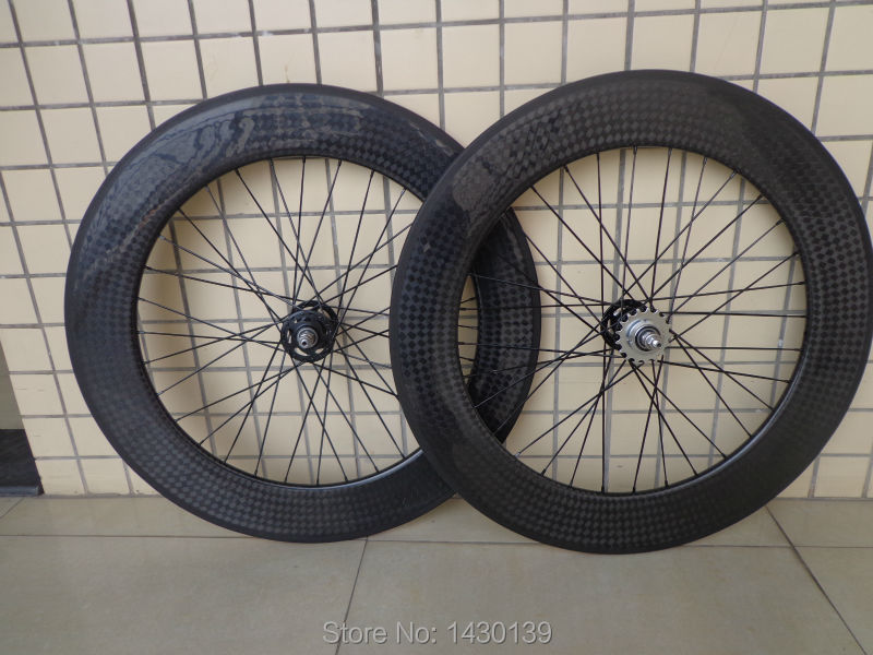 New 700C 88mm clincher rims Fixed Gear Bike 12K full carbon fibre bicycle wheelset with Fixed Gear hubs 23 25mm width Free ship<br><br>Aliexpress