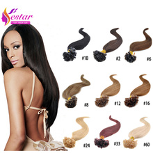 Hot Selling Fusion Prebond U Tip Keratin Hair Extension 0.5g/strands Nail Hair Extensions 100s/pack 18 Colors U Tip Hair Human(China (Mainland))