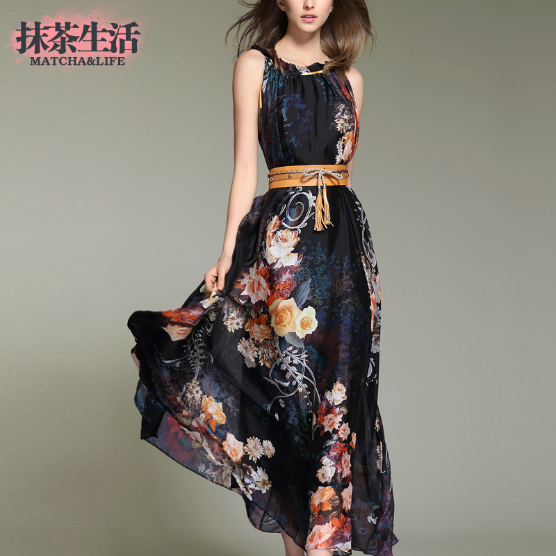 2015 Summer Womens Full Dress Female Elegant Chiffon Plus Size One-piece Dress Female Print Dress Одежда и ак�е��уары<br><br><br>Aliexpress