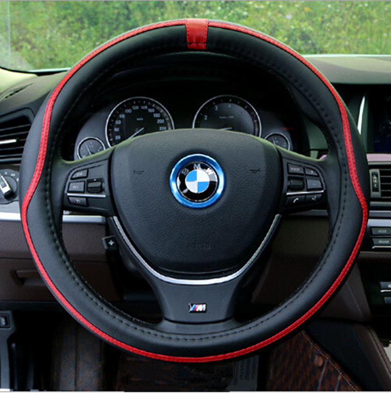NEW Sport Steering Wheel Cover Fiber Leather Car Steering Covers Four Season Auto Supplier Car Accessories Cases BMX VW AUDI(China (Mainland))