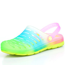 Rainbow gradient couple female sandals shoes