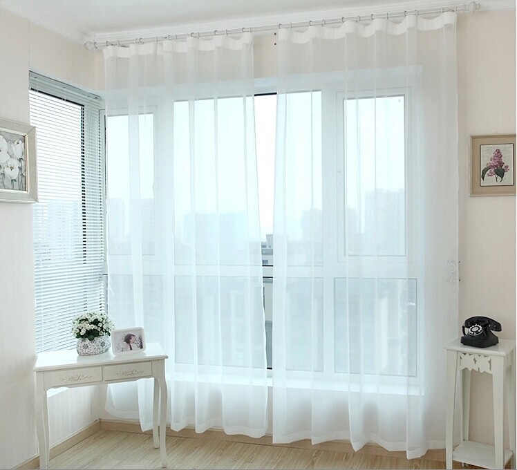 Finished window transparent voile curtains panel tulle curtains sheer curtains for living room clearance white curtains(China (Mainland))