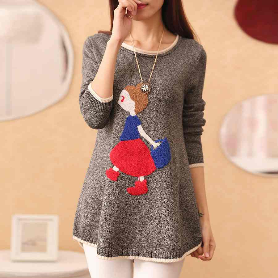Pullover women new long school code loose thick knit sweater coat(China (Mainland))