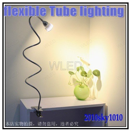 50cm Long Tube Warm White LED Desk Lamp Clip Style with Plug AC85-265V 3W High Power LED Clamps Lamp Light free shipping(China (Mainland))