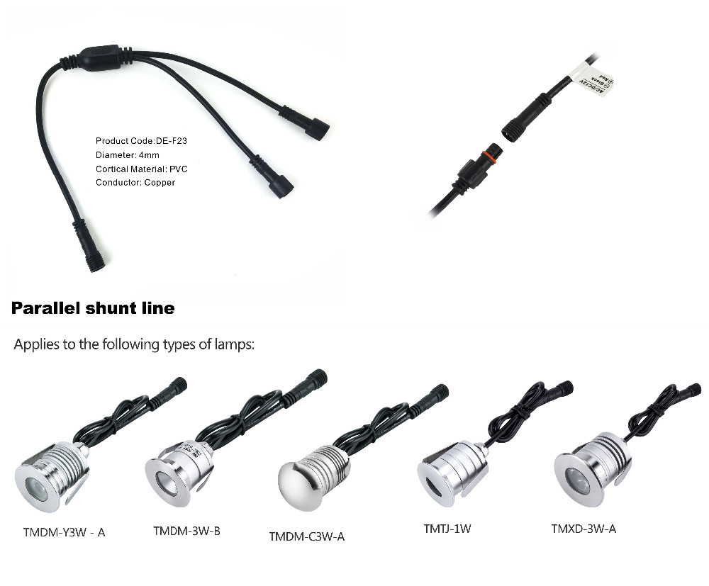 2PIN T-type IP67 Waterproof Extension Cable/Connect Wire