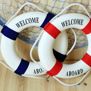 Mediterranean Nautical Decorative Lifebuoy Life Wall Hanging Showcase Room Life Preserver(China (Mainland))