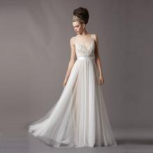 Buy vestido branco Elegant Beach White Lace Wedding Dresses 2017 Scoop Tulle Appliques A-line Wedding Gown Bohemia Style Bride dress for $122.40 in AliExpress store