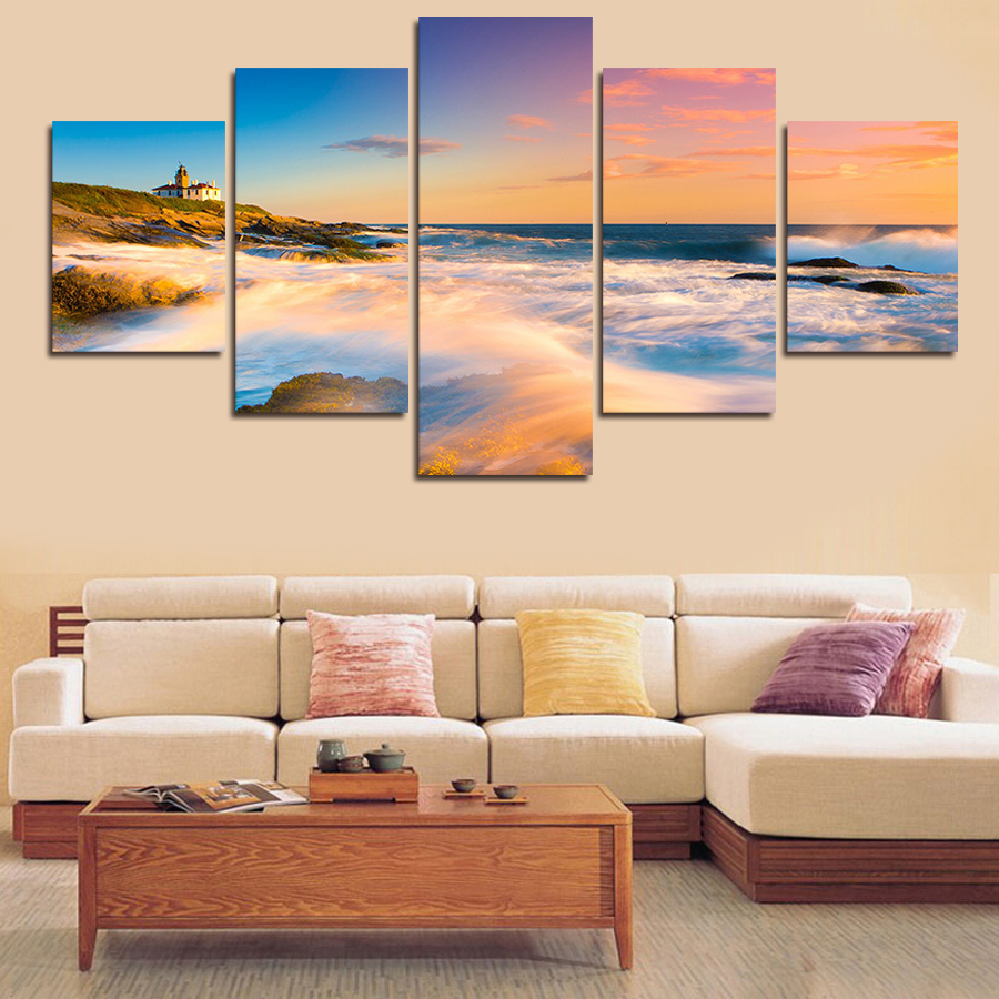 5 Pcs Abstract Sky Sea View HD Wall Picture poster Art Print Painting On Canvas Pictures For Living Room Home Decor Unframed(China (Mainland))