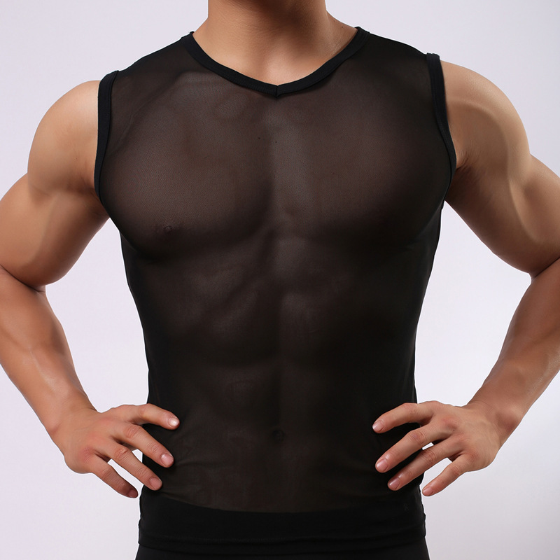 Free Shipping new 2015 wholesale Mesh Hollow Out men's vest sexy man's wear bodybuilding innerwear tank tops men Gay Lingerie(China (Mainland))