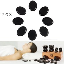 Lowest Price 7pc/Set Compact Portable SPA Massage Basalt Rocks Hot Stone Mini Oval Shape Health Care Size 4cm *3cm Black