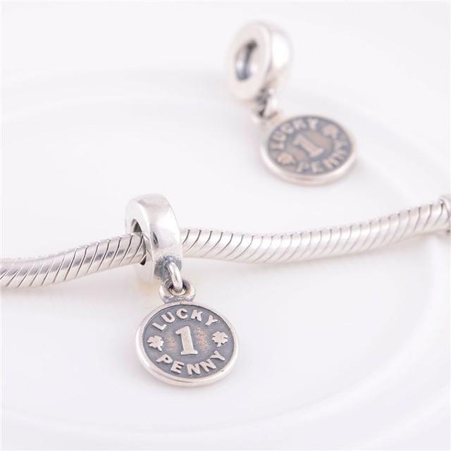 Подходит пандоры прелести браслет аутентичные 925 серебряные бусины лаки мотаться пенни шарм женщины DIY ювелирных бесплатная доставка