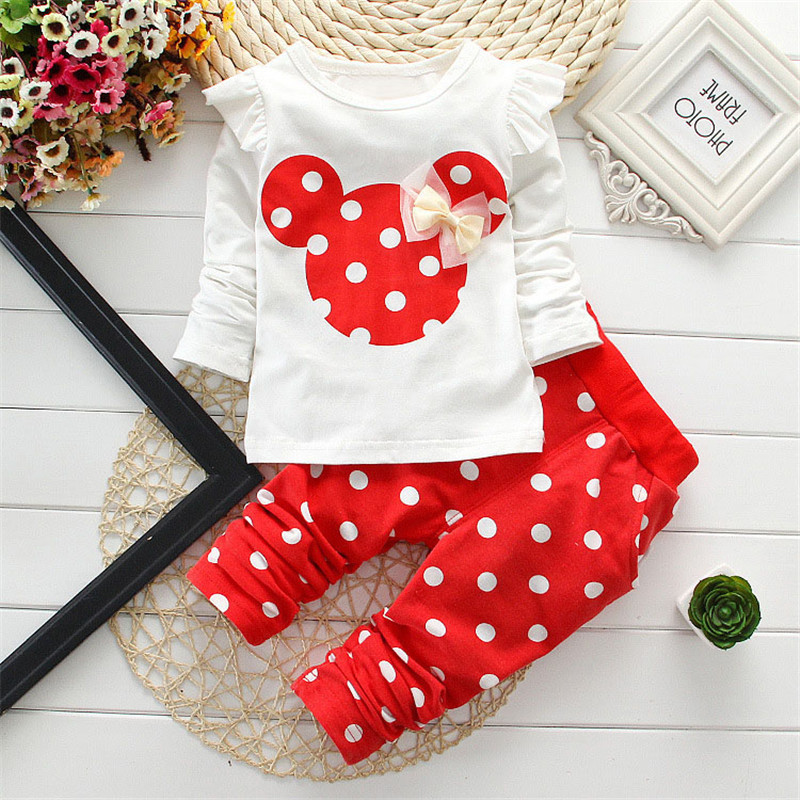 Kids Minnie Mickey Printed Clothing Girl Baby Sets Long Sleeve Cotton Toddler Baby Girl Clothes Sets Children Suit T-Shirt+Pant(China (Mainland))