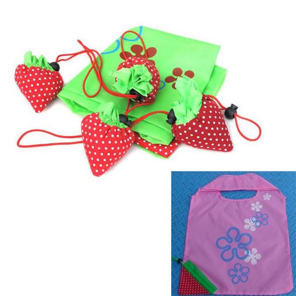 Free Shipping Shopping Bag Strawberry Reusable Foldable Tote Bag Storage Bag Organizer(China (Mainland))
