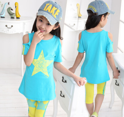Summer Children Clothes,Girls Star Clothing Sets, Cotton T-shirt +Half Pants 2 pieces, Baby Casual Sport Suits Baby Clothes Set(China (Mainland))