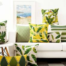 Free Shipping!!Green leaf square throw pillow/almofadas case adult teen child,vintage pastoral plant cushion cover home decore(China (Mainland))