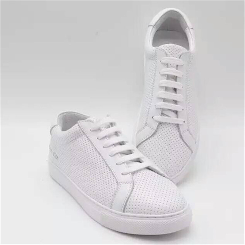 Фотография Italy Brand Common Projects Women Men Shoes Spring Autumn Bass White Genuine Leather Sheepskin Casual Shoes Scarps Femme Zapato