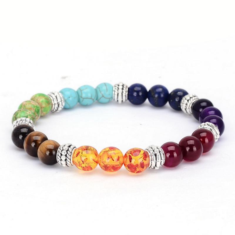 2017 New 1pc 7 Chakra Bracelets Bangle Colors Mixed Healing Crystals Stone Chakra Pray Mala Bracelet Summer Jewelry