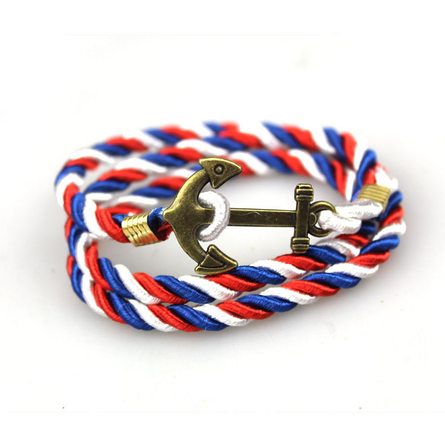 ZH8818 The Latest Retro Pop Punk Navy Wind Diy Three Lap Multi Braided Ship Anchor Bracelet MEN AND WOMEN(China (Mainland))