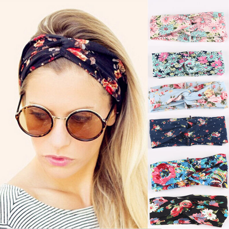Retro Women Elastic Turban Twisted Knotted Headband Ethnic Floral Wide Stretch Hair Band Girl Yoga Hair Accessories