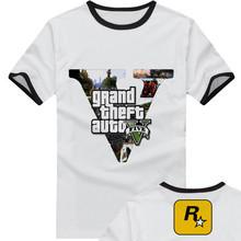 new 2015 free shipping adolescent Grand Theft Auto GTA 5 sitcoms man men male sports short-sleeve T-shirt