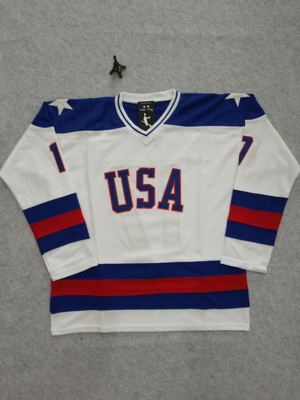 SexeMara 1980 Miracle On Ice Jack O'Callahan 17 USA Hockey Jersey White Blue S-XXXL Free Shipping(China (Mainland))