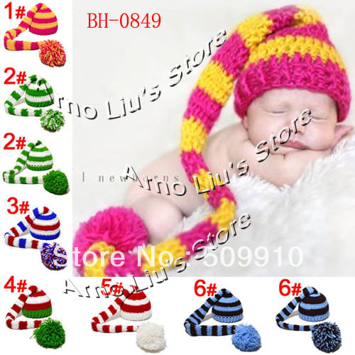 2015 New Promotion Newborn Photography Props Baby Crochet Christmas Cap Baby Hat Pixie Elf Christmas Beanies 0-12Month BH-0849(China (Mainland))