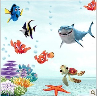Sanguan fish wall stickers child real shower room baby sticker