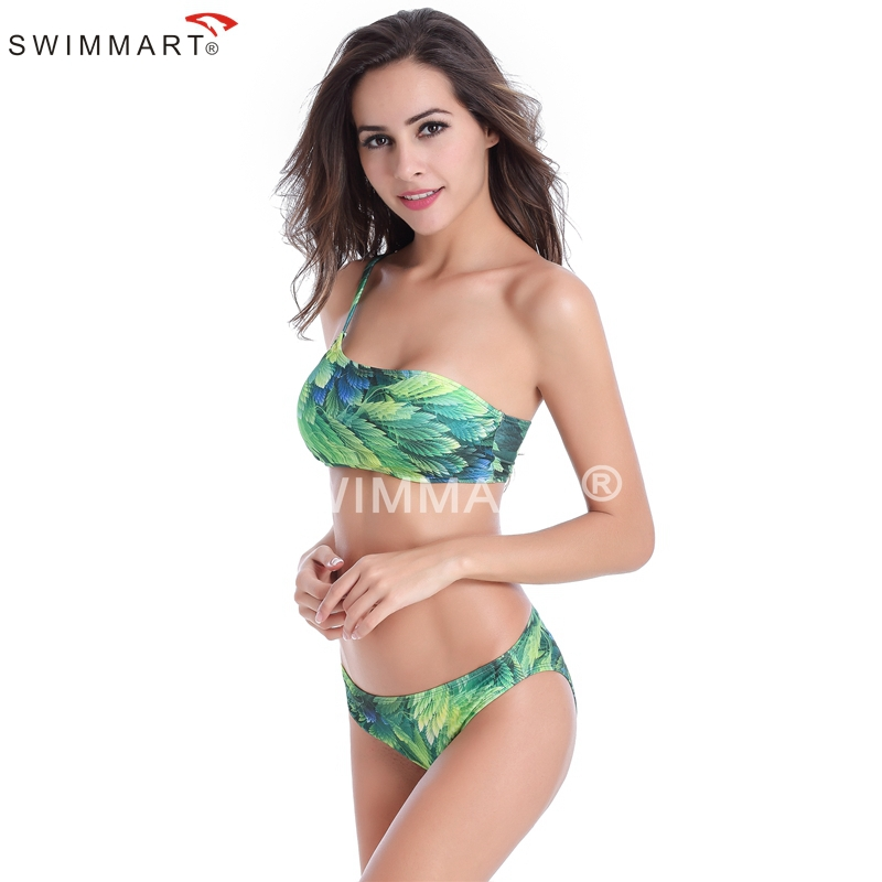 Hot Sale Super Biggest size 6XL Removable Padding Fully lined Adjustable One Shoulder Tube Bikini 3 Prints(China (Mainland))