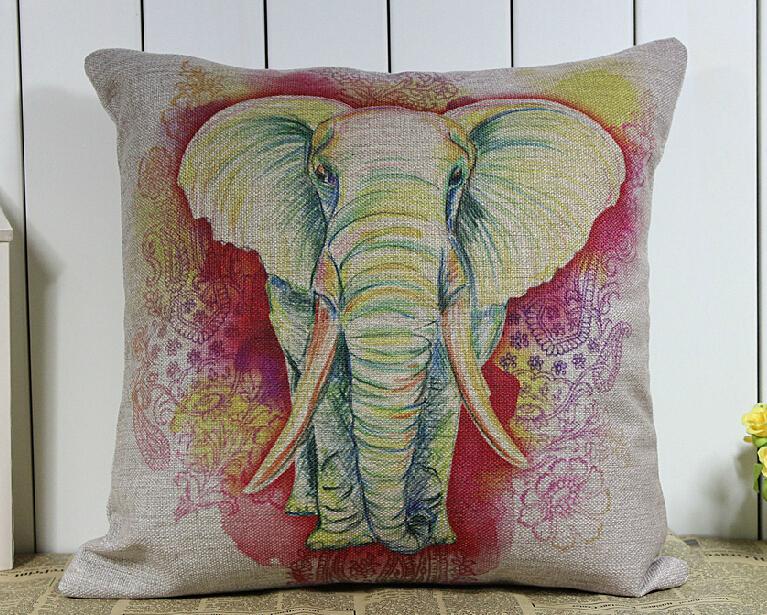 Elefante travesseiro, Pastoral americana aquarela retro elefante de algodão de linho jogar travesseiro fronha(China (Mainland))