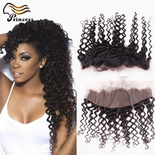 7A Deep Curly Lace Frontal Closure Virgin Human Hair Peruvian Frontal Lace Closure Free Middle 3 Part Lace Frontal Closure 13×4
