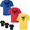 Pokemon Go Women 2016 New Summer Fashion Character Team Mystic Team Instinct Team Valor Short Sleeve
