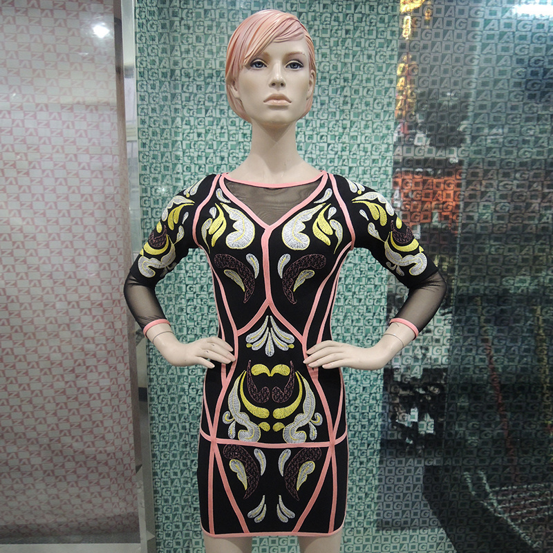 ChinFun embroidery bodycon women dress hot selling in the USA market with half sleeves bandage dress DM791(China (Mainland))