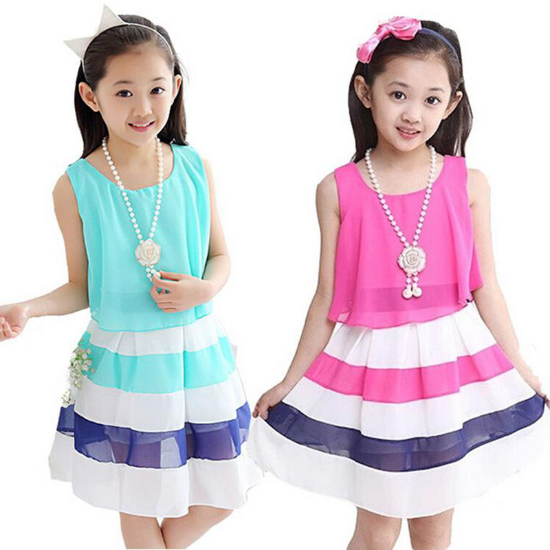 2016 new summer 4-15 age girls casual striped high quality chiffon princess dress child cute vestidos kids hot sale clothes(China (Mainland))
