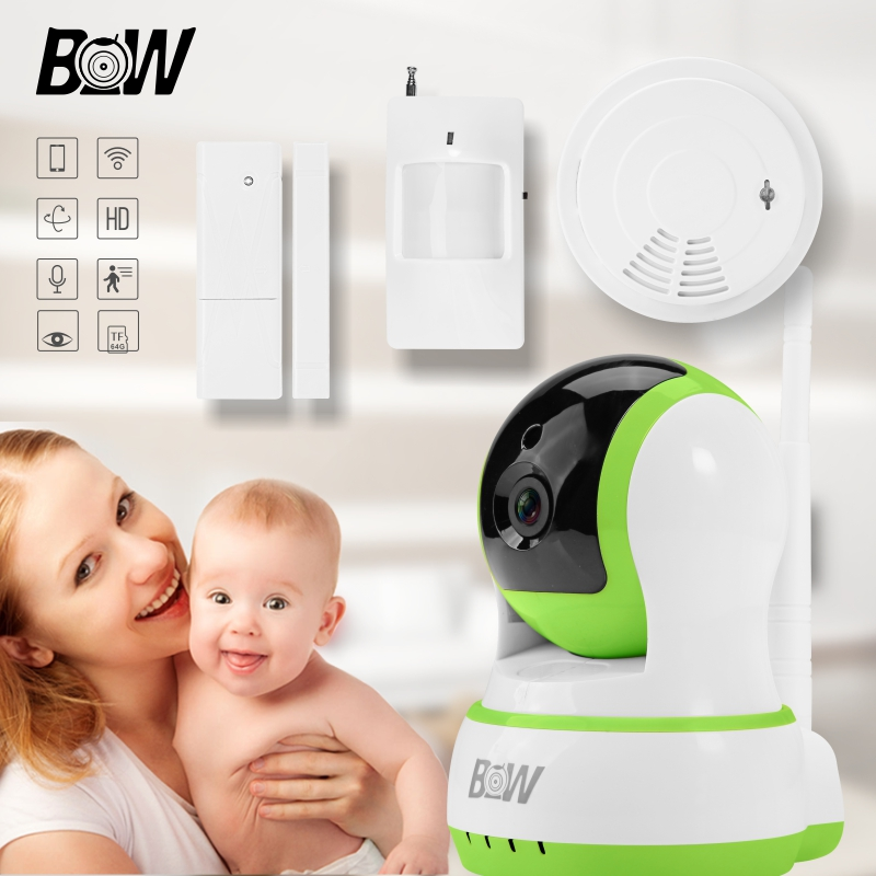 Security Wifi Camera Baby Monitor IP Camera + Door Sensor/Infrared Motion Sensor/Smoke Detector CCTV Camera Alarm Sensor BW13GR(China (Mainland))