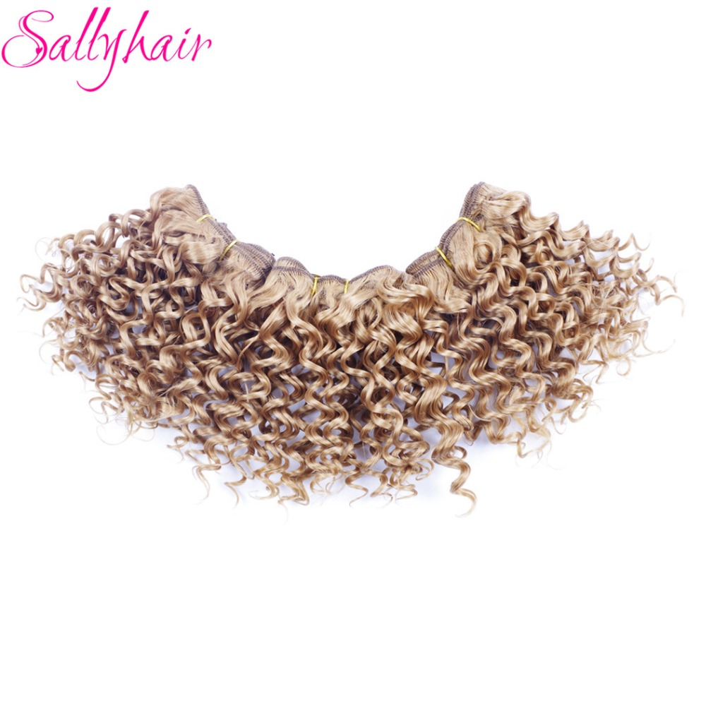 Sallyhair Ombre Color Afro Kinky Curly Crochet Hair Weave Mixed Black Burgundy Synthetic Hair Extensions 3pclot Hair Weavings  (28)