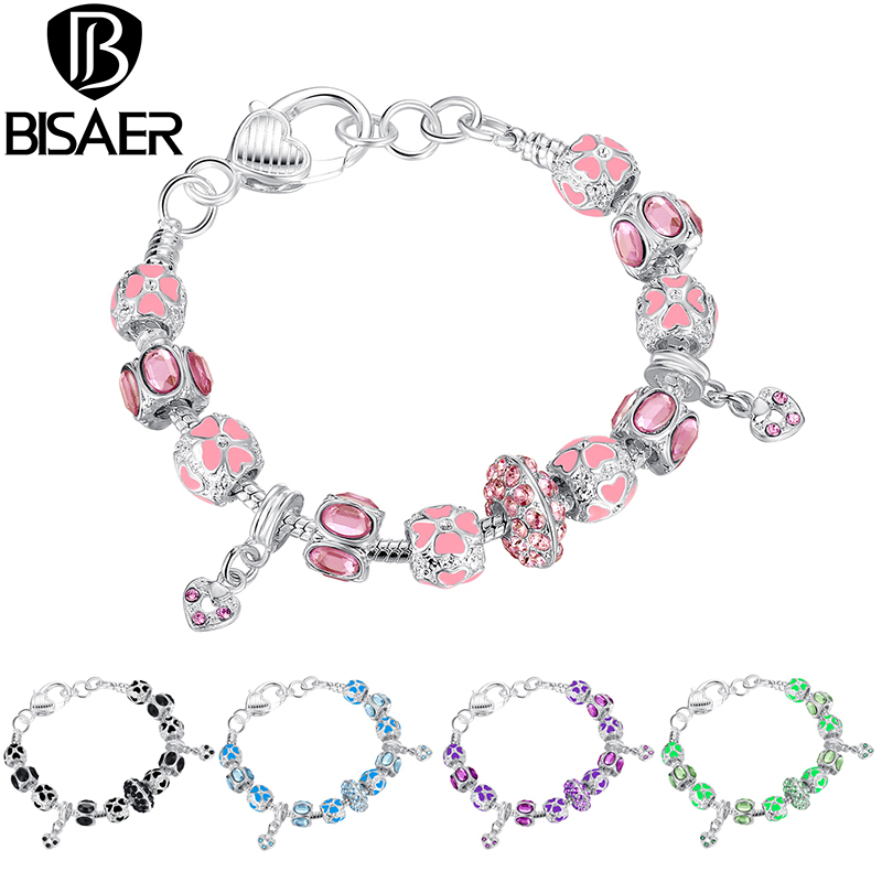 2015 New Silver Plated Charm Bracelet for Women Pink Crystal Murano Glass Chain Link ID Bracelet DIY Jewelry Pulseras(China (Mainland))