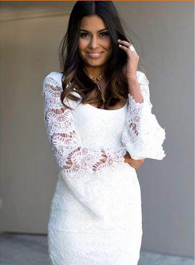Plus size M-XL Long sleeve casual dress 2015 women autumn dress lace slim hip bodycom short dress (China (Mainland))