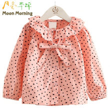 Buy Moon Morning Kids Blouse 2T~8T Star Print Bow Lovely Pink Meisjes Clothes School Spring Turn-down Regular Frill Child Garment for $14.77 in AliExpress store