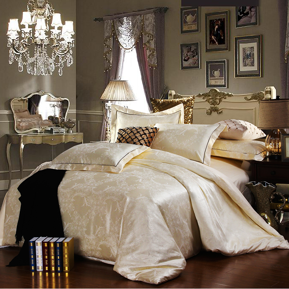 Discount Luxury Tribute Silk Satin Jacquard Bedclothes Bedding Set Wedding Noble Palace Bed Set