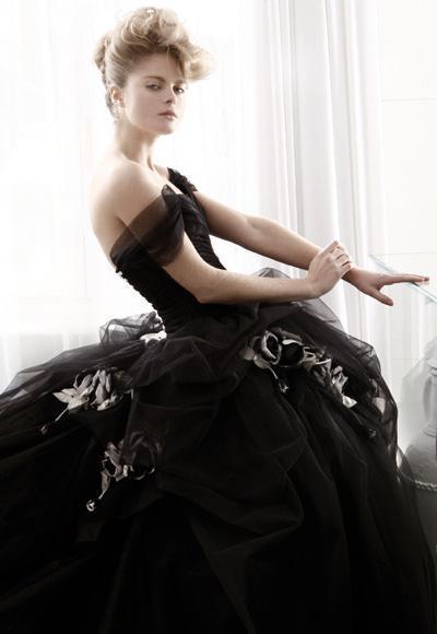 Велюр черный свадьба платья бальное платье принцесса выкл-плечу ручной работы цветок подметание поезд обычный заказ W143