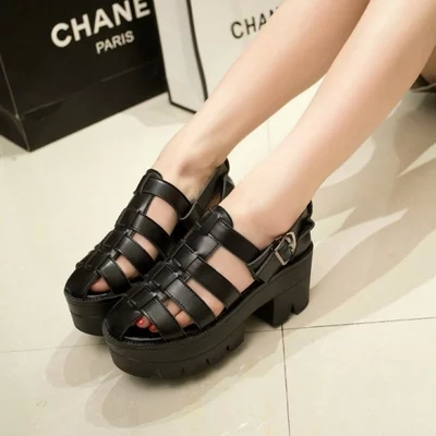 2015 Summer Chunky Thick Heel Sandals Caged Peep Toe Flat Platform High Heel Gladiator Boot Shoes Women Summer StyleDR021(China (Mainland))