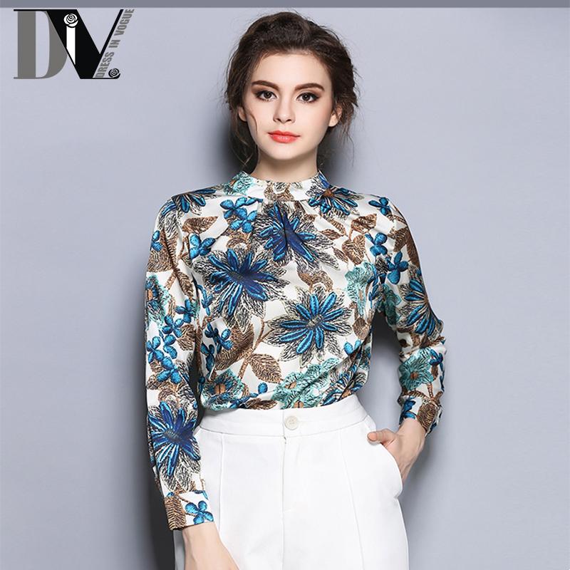 DIV New Arrival Flower Print Shirt Women Stand Full Sleeve Irregular Hem Blouses Buttoned Cuff Blusa Feminina Plus Size S-2XL(China (Mainland))