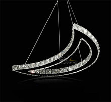 AC100-240V 32W LED Crescent moon crystal chandelier restaurant dining room Meniscus lamp modern table hanging suspension fixture(China (Mainland))