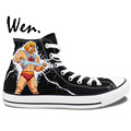 Hand Painted Art Wen HeMan Painted Canvas Shoes Man Woman High Top Sneakers Girls Boys Unique
