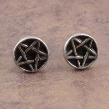 Gothic Punk Jewelry Men's Round with Star Symbol Stud Earrings Boy's Pentanoir Pewter Ear Stud Halloween Gift(China (Mainland))