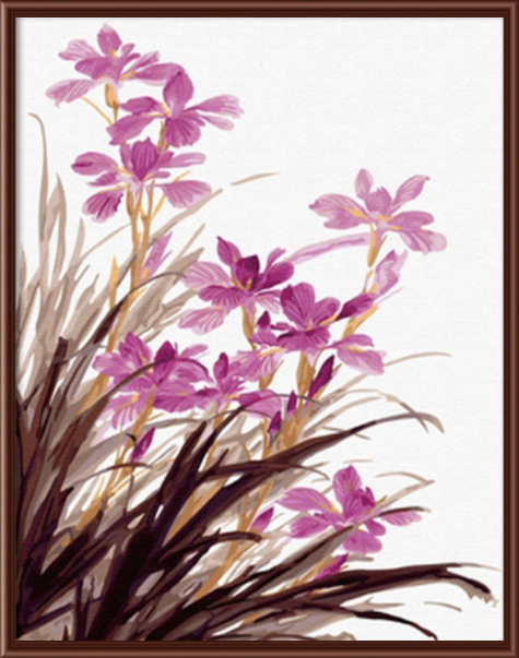 Orchid flower framed picture painting by numbers diy for Diy flower canvas wall art
