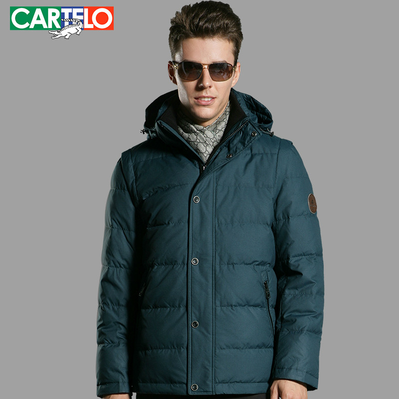 CARTELO/Brand 90% Duck S-XL Men's Casual Down Jacket Winter Hooded Collar hit Color Business Jackets Thick Coat(China (Mainland))